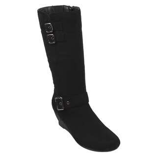 Beston EJ71 Women's Side Zipper Mid-Calf Wedge Boots Half Size Small