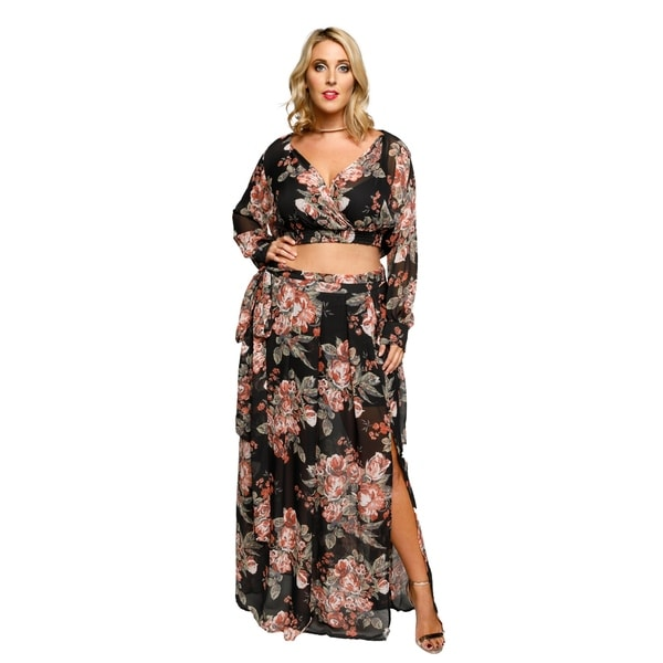 6a2fbe786be88 Shop Xehar Womens Plus Size Sexy Floral Slit Maxi Dress (2 Piece Set ...