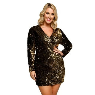 Xehar Womens Plus Metallic Sequin Mini Evening Cocktail Party Dress