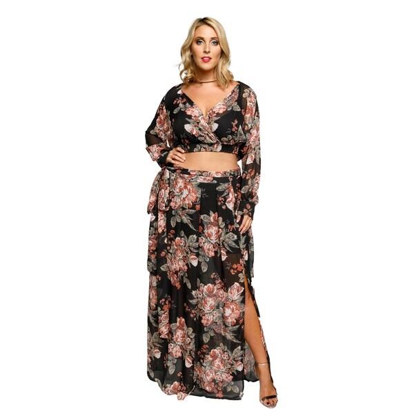 Shop Xehar Womens Plus Size Sexy Floral Slit Maxi Dress 2 Piece Set