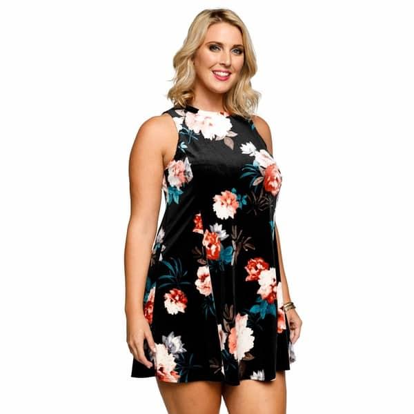 Shop Xehar Womens Plus Size Sleeveless Floral Velvet Mini ...