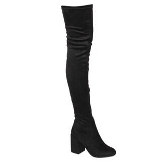 Beston EJ59 Women's Stretchy Snug Fit Zipper Block Heel Over The Knee High Boots