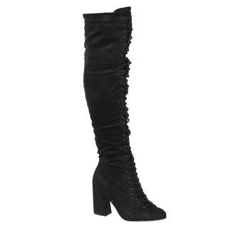 Beston EJ60 Women's Chic Lace Up Block Heel Over The Knee High Combat Boots