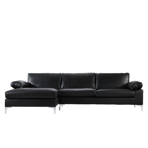 Modern Large Faux Leather Sectional Sofa Extra Wide Chaise