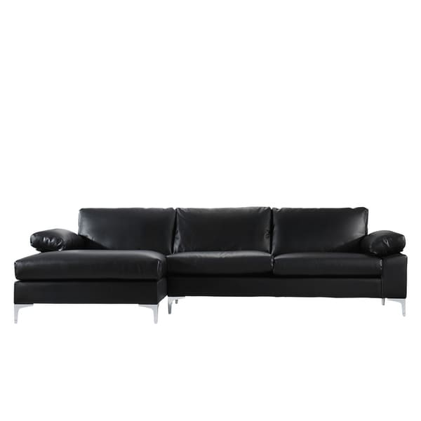 Modern Large Faux Leather Sectional Sofa, Extra Wide Chaise