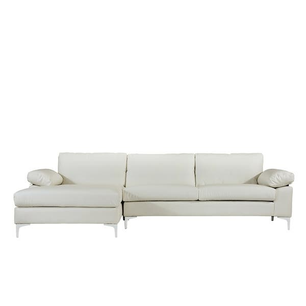 Shop Modern Large Faux Leather Sectional Sofa, Extra Wide ...