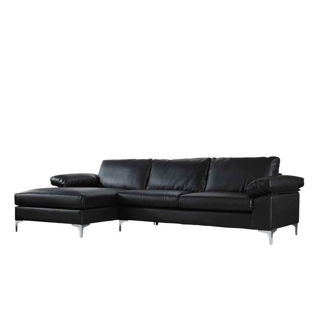 Modern Large Faux Leather Sectional Sofa Extra Wide Chaise eBay
