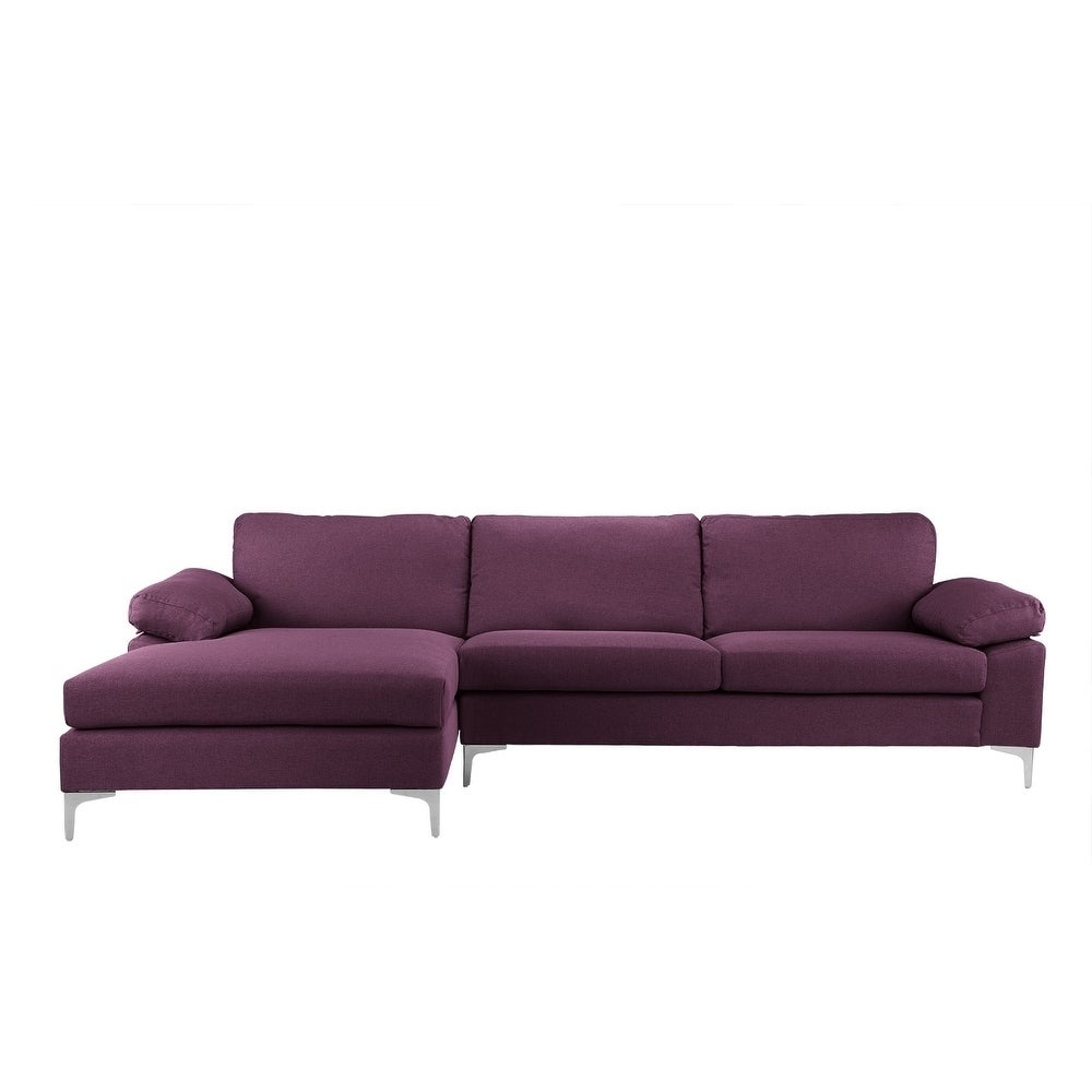 Modern Large Linen Sectional Sofa, L Shape Couch, Wide Chaise (Option: