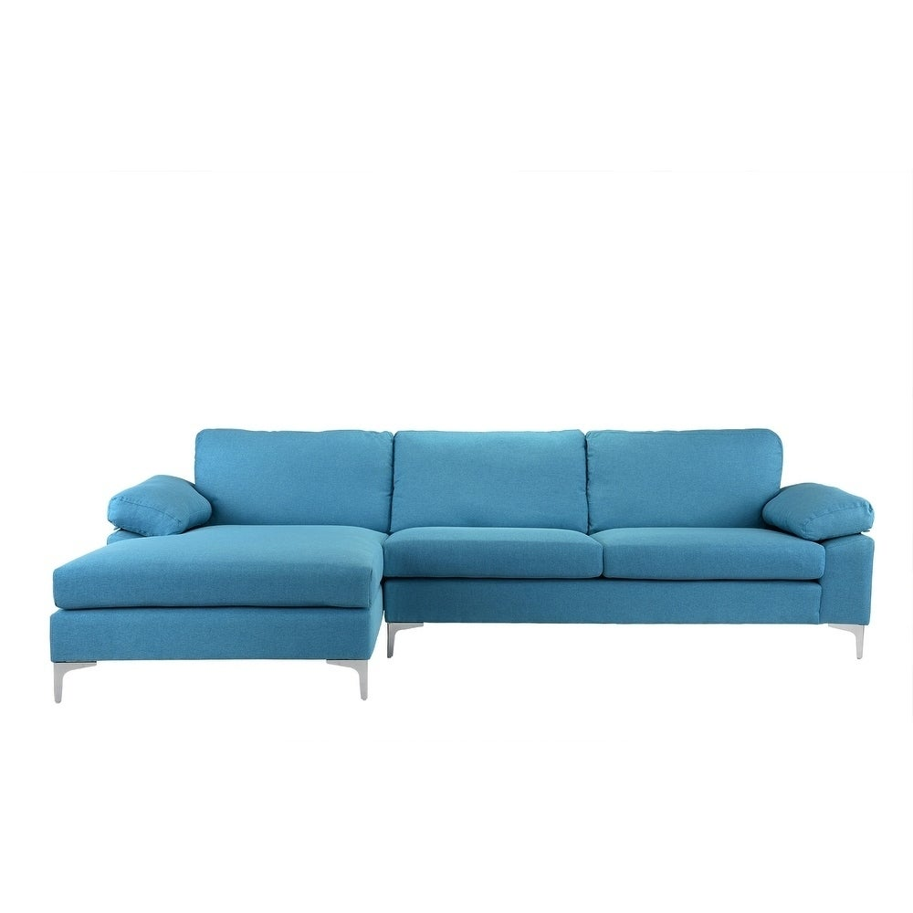 Contemporary Sectional: Modern Large Linen Sectional Sofa, L-Shape Couch, Wide
