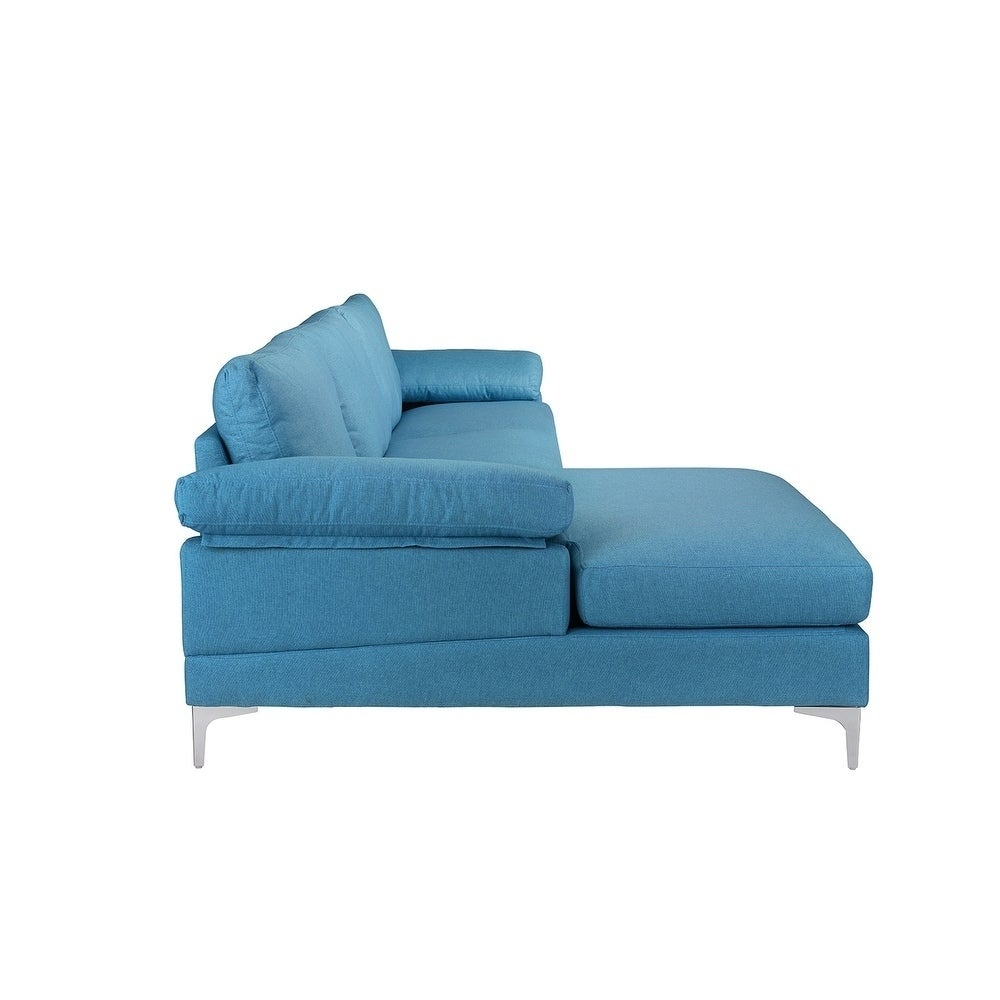 Modern Large Linen Sectional Sofa, L-Shape Couch, Wide ...