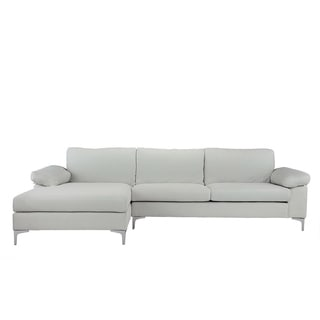 Modern Large Linen Sectional Sofa, L Shape Couch, Wide Chaise