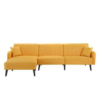 Mid Century Sleeper Futon Sofa Reclining Sectional Couch