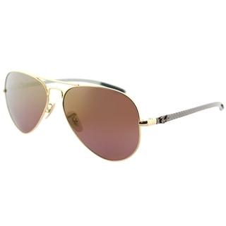 Link to Ray-Ban Aviator RB 8317CH 001/6B Unisex Shiny Gold Frame Purple Mirror Chromance Lens Sunglasses Similar Items in Men's Sunglasses