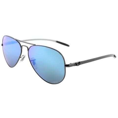 Ray-Ban Aviator RB 8317CH 029/A1 Unisex Matte Gunmetal Frame Blue Mirror Chromance Lens Sunglasses