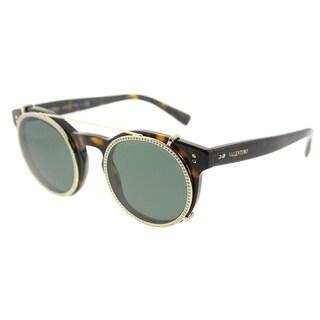 Valentino Round VA 4009CA 500271 Womens Havana Frame Smoke Green Lens Sunglasses