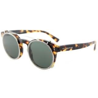 Valentino Round VA 4009CB 503671 Womens Yellow Havana Frame Smoke Green Lens Sunglasses