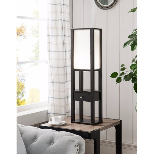 Modern Floor Lamp With Storage Option, Brown