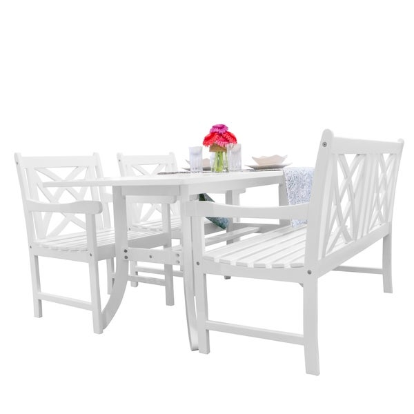 Havenside Home Surfside 4-piece Patio Dining Set with Table, Bench, and 2 Armchairs