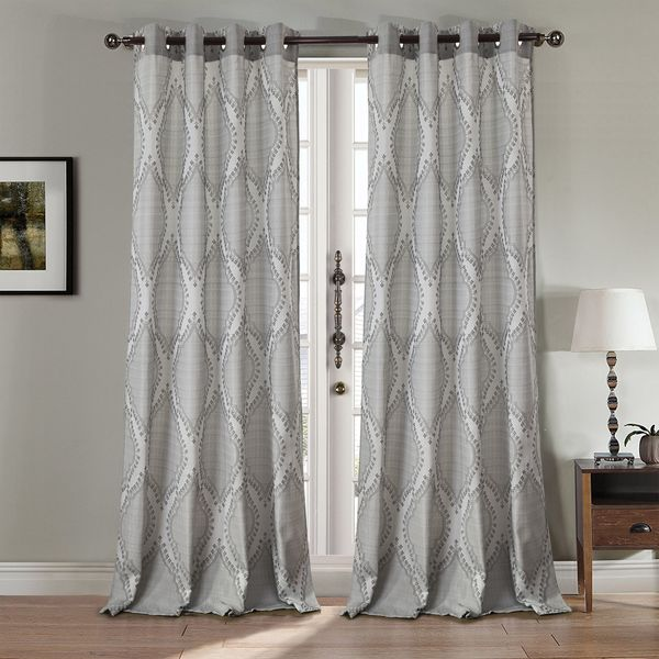 Rt Designers Collection Glendale Jacquard 84 Inch Grommet Curtain Panel Free Shipping On Orders Over 45 Com 24252974