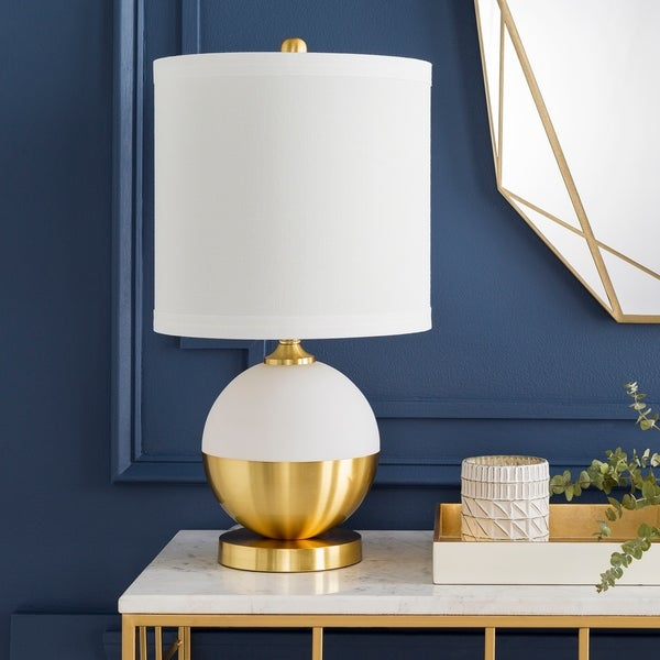 Purcell Petite White & Brass Modern Table Lamp