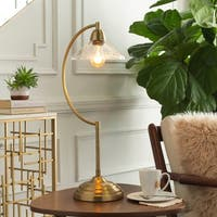 Arcios 27-inch Gold Vintage Lamp with Bubble Glass Shade