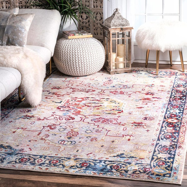 nuLoom Pink Polypropylene Vintage Tribal Hex Medallion Border Rug - 7'10 x 11'