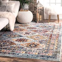nuLoom Fading Tribal Diamonds Blue Traditional Vintage Trellis Medallion Border Rug - 5'3 x 7'7