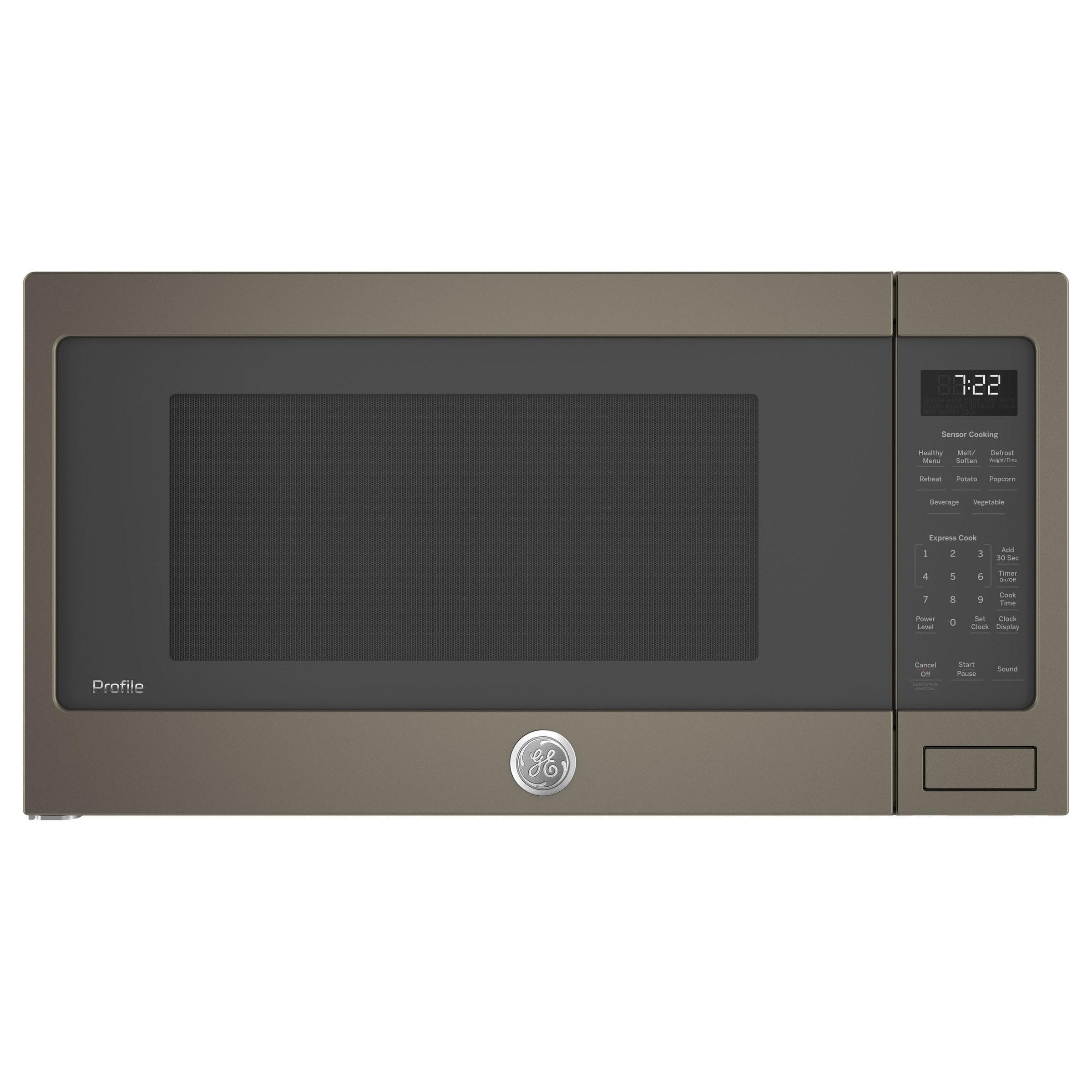 GE Profile Series 2.2 Cu. Ft. Countertop Sensor Microwave Oven in Slate Over 2.0 cf - Grey - Clock Display