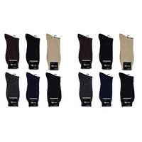 Focus Men's 12 Pack Solid Dress Socks
