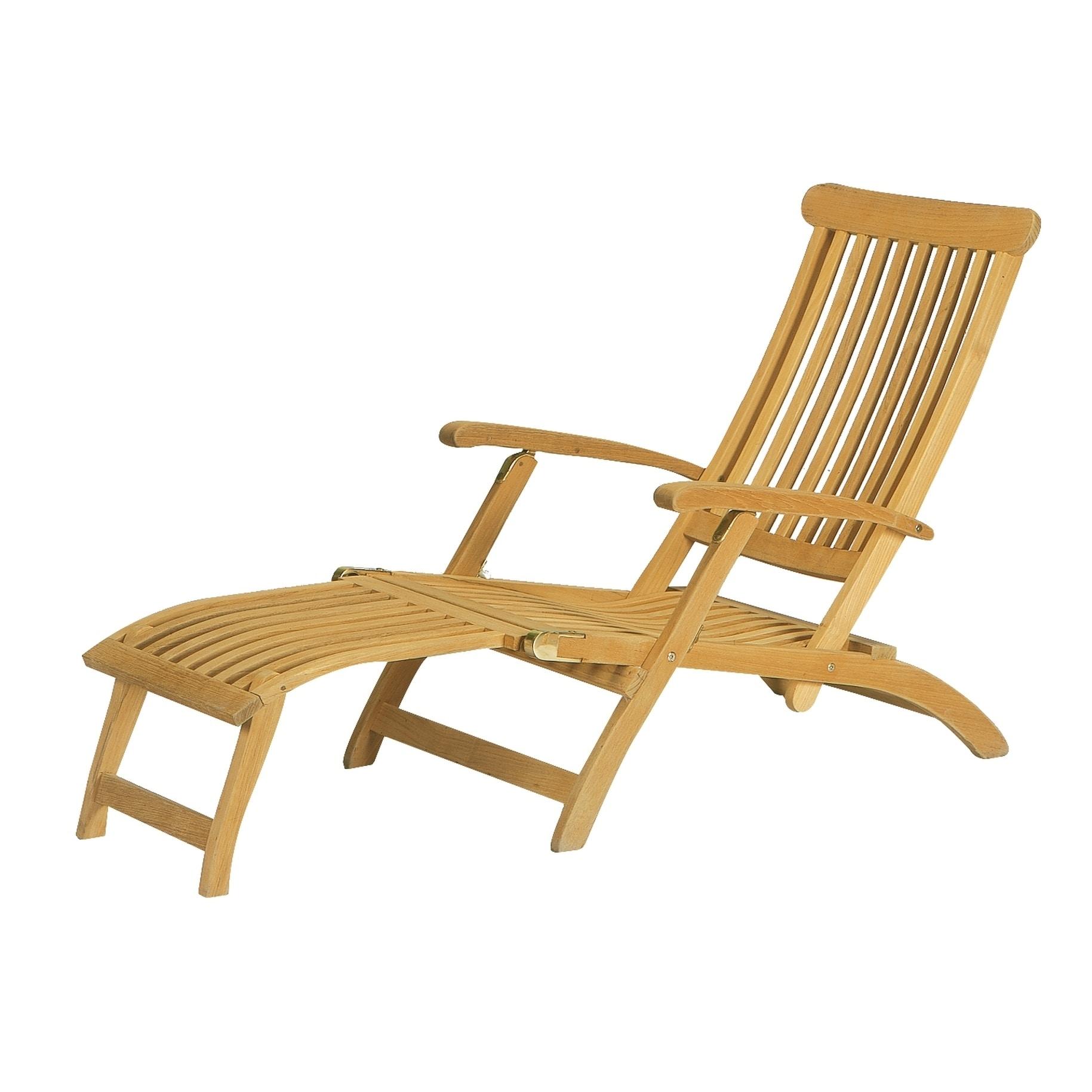 HiTeak Steamer Outdoor Folding Teak Chaise Lounge Chair, ...