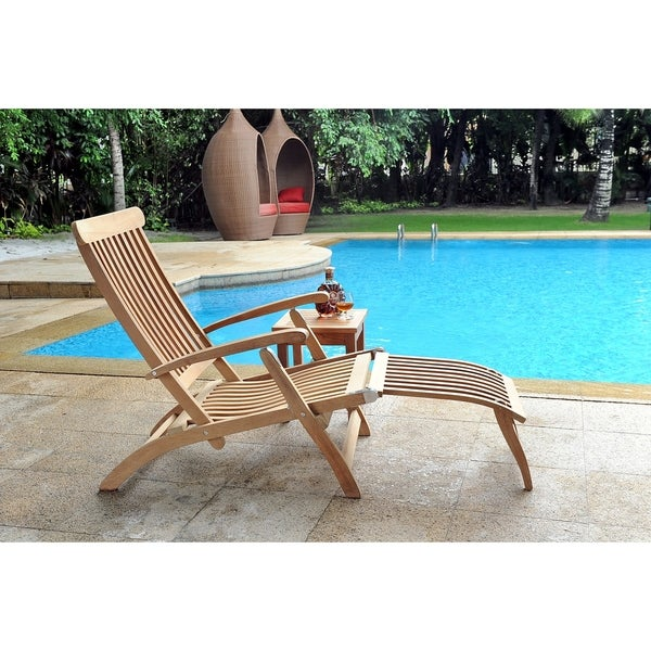 Shop Steamer Outdoor Folding Teak Chaise Lounge Chair Free