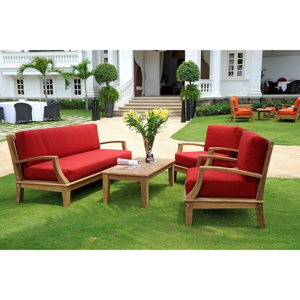 Shop Grande 4 Piece Outdoor Teak Lounge Set - Free Shipping Today ...