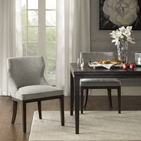 Madison Park Signature Hutton Grey Fabric/Wood Dining Side Chair (Set of 2)