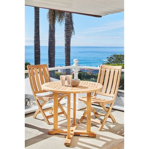 "Curtis 35.5"" Dia Round Teak Outdoor Dining Table with Umbrella Hole"