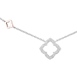 10K Two Tone White and Rose Diamond Clover Necklace