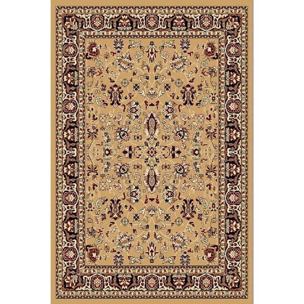 Chelsea Traditional Oriental Beige Round Area Rug - 7'9 x 7'9