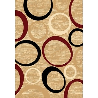 Chelsea Abstract Circles Beige Round Area Rug - 7'9 x 7'9