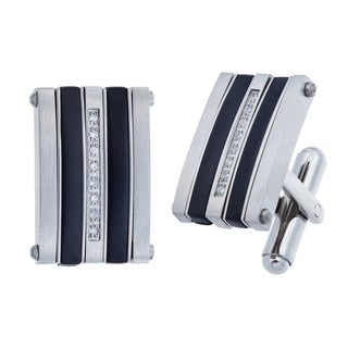Stainless Steel Cufflinks with Black Plating and Cubic Zirconia