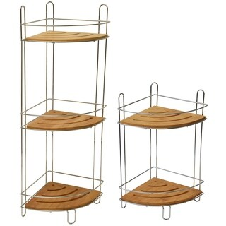 Evideco Metal Wire Corner Shower Caddy Bamboo Shelves Brown