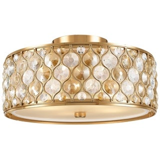"""Jewel Collection 4 Light Matte Gold Finish with Clear and Golden Teak Crystal Flush Mount Ceiling Light D16""""H8"""""""