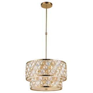 "Jewel Collection 9 Light Matte Gold Finish with Clear and Golden Teak Crystal Pendant D20""H12"""
