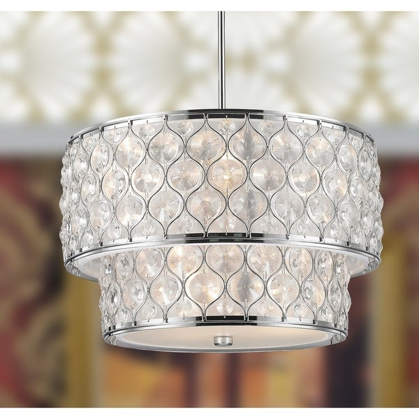 Jewel Collection 9 Light Chrome Finish With Clear Crystal Pendant D20 H12 Silver