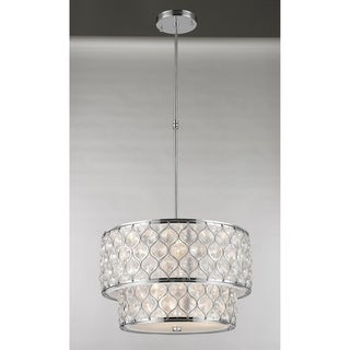 "Jewel Collection 9 Light Chrome Finish with Clear Crystal Pendant D20""H12"" - Silver"