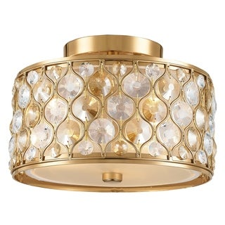 "Jewel Collection 3 Light Matte Gold Finish with Clear and Golden Teak Crystal Flush Mount Ceiling Light D16""H8"""