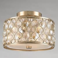 "Jewel Collection 3 Light Champagne Finish with Clear and Golden Teak Crystal Flush Mount Ceiling Light D16""H8"""