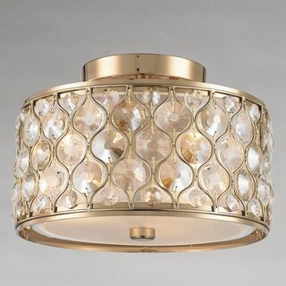 """Jewel Collection 3 Light Champagne Finish with Clear and Golden Teak Crystal Flush Mount Ceiling Light D16""""H8"""" (Option: Goldtone Finish)"""
