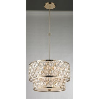 """Jewel Collection 9 Light Champagne Finish with Clear and Golden Teak Crystal Pendant D20""""H12"""""""