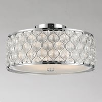 "Jewel Collection 4 Light Chrome Finish with Clear Crystal Flush Mount Ceiling Light D16""H8"""