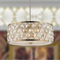 "Jewel Collection 5 Light Champagne Finish with Clear and Golden Teak Crystal Pendant D20""H8"""