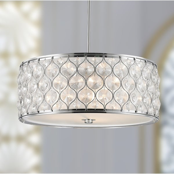"Jewel Collection 5 Light Chrome Finish with Clear Crystal Pendant D20""H8"" - Silver"